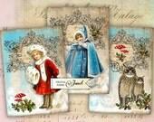 Victorian Christmas - digital collage sheet - set of 6 - Printable Download