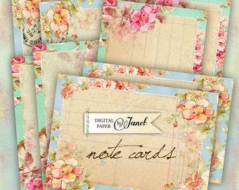 NOTE cards - digital collage sheet - set of 4 - Printable Download