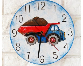 The Dump Truck Wall Clock Home Decor for Children Kid Boy Nursery Playroom, wall clocks handmade