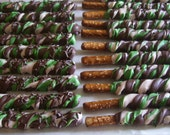 RESERVED for SP Green / Camo Pretzel Rods Chocolate Covered Pretzel Rods Marshmallow Pops or Rice Treat Pops Camo Theme  Milk Chocolate
