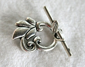2 Antiqued Silver Fancy Leaf Toggle Clasps