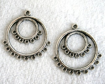 4 Antique Silver 1 to 7/9 Double Hoop Earring Links