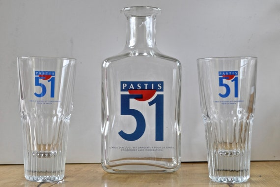 vintage pastis 51 glass water pitcher carafe 2 bistro. Black Bedroom Furniture Sets. Home Design Ideas