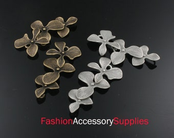 2pcs-37mm Antiqued Bronze,Silver Brass Cascade 'Orchid Flower' Connector charms,Pendants (A481)