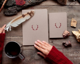 Forest notebook with a carved pattern - Deer horns- set of 2 notebook