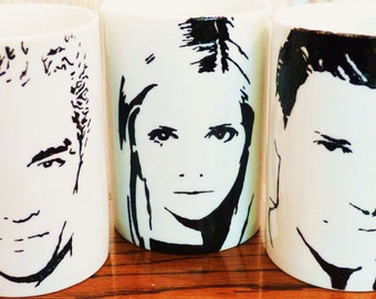 Sarah Michelle Gellar, James Masters, David Boreanaz, Buffy, Spike, Angel, Hand painted, Hand PrintedBuffy the Vampire Slayer cup set
