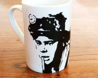 Dan Aykroyd, Ghostbusters, ray stanz, hand printed, hand painted, cup