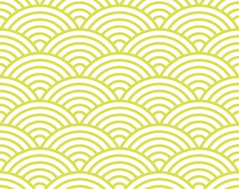 Scalloped Fish Scale Fabric by the Yard - Citron Green and White