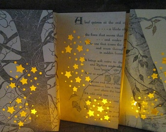 5 Rustic Luminary Bags, Luminaries, Rustic Wedding, Tree Wedding, Trees, Poetry Decor, Trees, Luminaries, Fall, Nature, Autumn, Home Decor