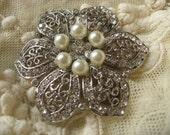 Karen Victorian Swarovski flower pearls and rhinestone crystals brooch pin