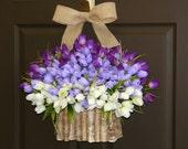 spring wreath tulip front door wreaths Valentine's day gifts wreath purple lavender birch bark vases, front door wreaths decorations