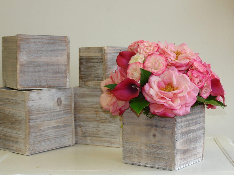 Wood Box Wood Boxes Woodland Planter Flower Pot Square Vases