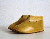 Vintage Baby Leather Shoes Fall Winter Mustard Yellow