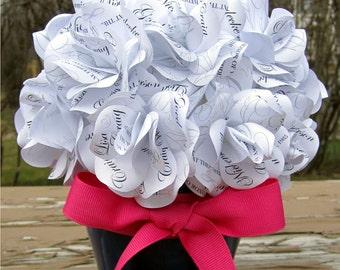 Personalized Flowerpot Centerpiece Custom  Paper Rose Keepsake for  Wedding,  Christening,  Birthday , Anniversary,  Bridal  or Baby Shower
