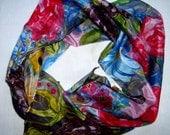 Hand Painted 100% silk batik scarf  flowers in the garden