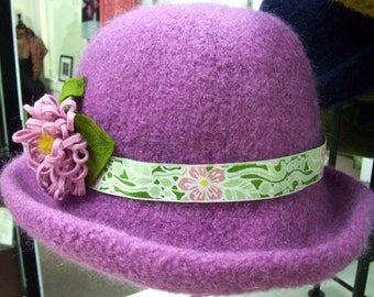Pink Lavender and Green Handfelted Wool Flower Hat by Maine Artist Hurshey Somers