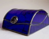 Stained glass jewelry box - cobalt art deco style