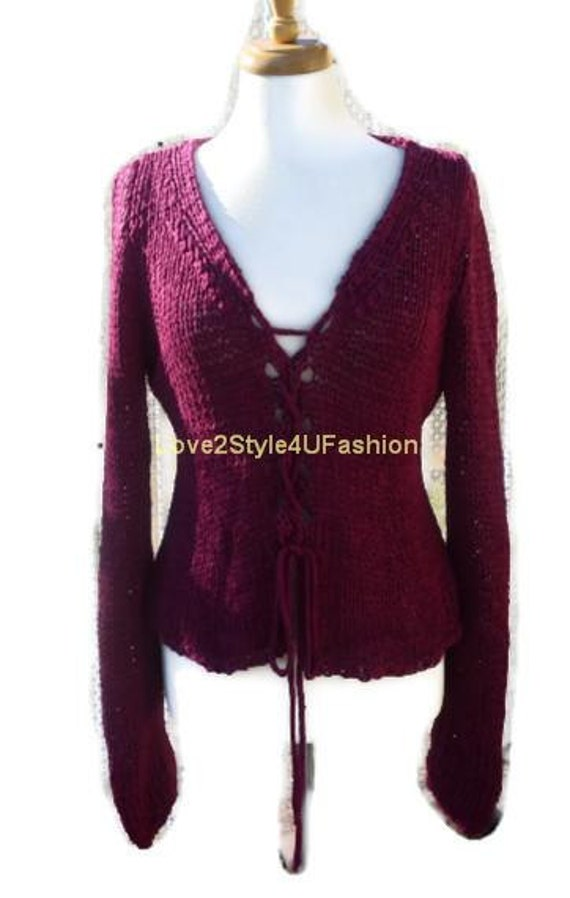Womens Knitted Sweater, Hand Knit Cardigan, Designers Sweater, Tiffany Lace Closure, Love2Style4UFashion, Burgundy-Ready to Ship