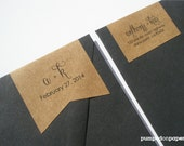 personalized monogram wraparound return address banner labels - set of 18