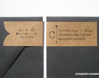 personalized wraparound return address banner labels - side fold - set of 20
