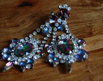 Vintage Haute COUTURE Czech Regal Rhinestone Dangle Chandelier Earrings