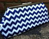 Royal Blue and White Chevron Clutch