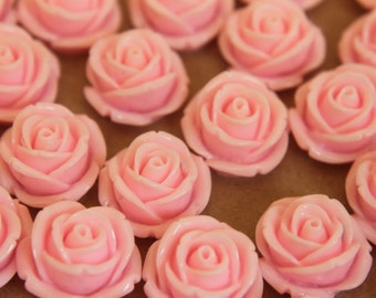 CLOSEOUT - 10 pc. Baby Pink Large Rose Cabochons 19mm | RES-326