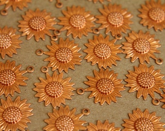 8 pc. Raw Copper Sunflower Charms: 19mm by 16mm - made in USA | RB-279