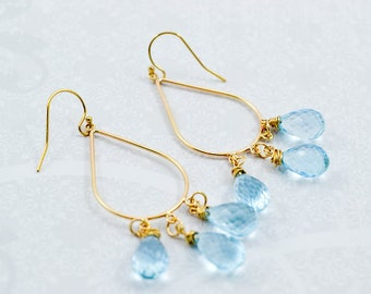 Gold Filled Teardrop with Blue Topaz Dangles, Gold Chandelier Earrings, Topaz Dangle Earrings, Inv175