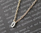 Solitaire Briolette Cut Diamond Necklace in 14K Yellow Gold