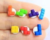 Miniature Rainbow Tetris Ear Studs Set of 7