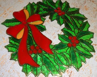 Vintage Wreaths, Stained Glass, Plastic, Window Decor, Sun Catcher, Christmas Decor, Ornaments
