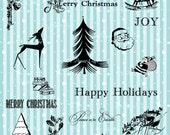 VINTAGE CHRISTMAS ELEMENTS Digital Printable Clipart Images - Transparent Backgrounds - Resizable png Files