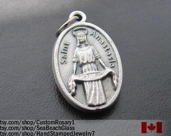 Saint Anastasia Charm Medal, made in ITALY, St Anastasia Necklace, Catholic Saint Medal, Patron Saint Catholic Jewelry Gift. Vintage Image
