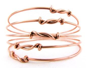 BaNgLe Bracelet Set: THREE (3) Copper Bangle Bracelets Knotted Copper Bracelets Stacking Bangle Bracelets Custom Sizes Boho Jewelry