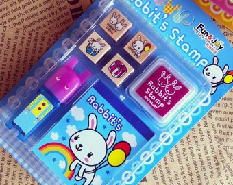 1 Case Rabbits Rubber Stamp Set(with ink pad) - Korean Stamp - Wooden Stamp - Diary Stamp - Filofax - Blue Style