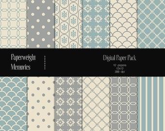 Moonlight - digital patterned paper - Instant Download -  digital scrapbooking - patterned paper - Commercial use