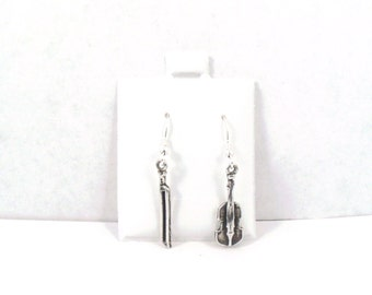 Sterling Silver Violin and Bow Charms on Sterling Silver French Hooks Dangle Ear Wires - 2882