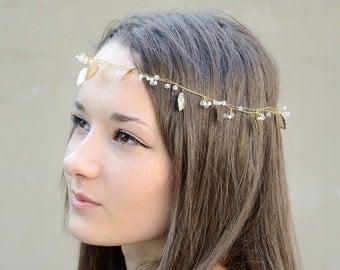 Bridal Hair Vine Tiara, gold leafs Hair Vine Wedding Hair Accessories Bridal Halo, Crystal Tiara laurel grecian goddess crown greek headband
