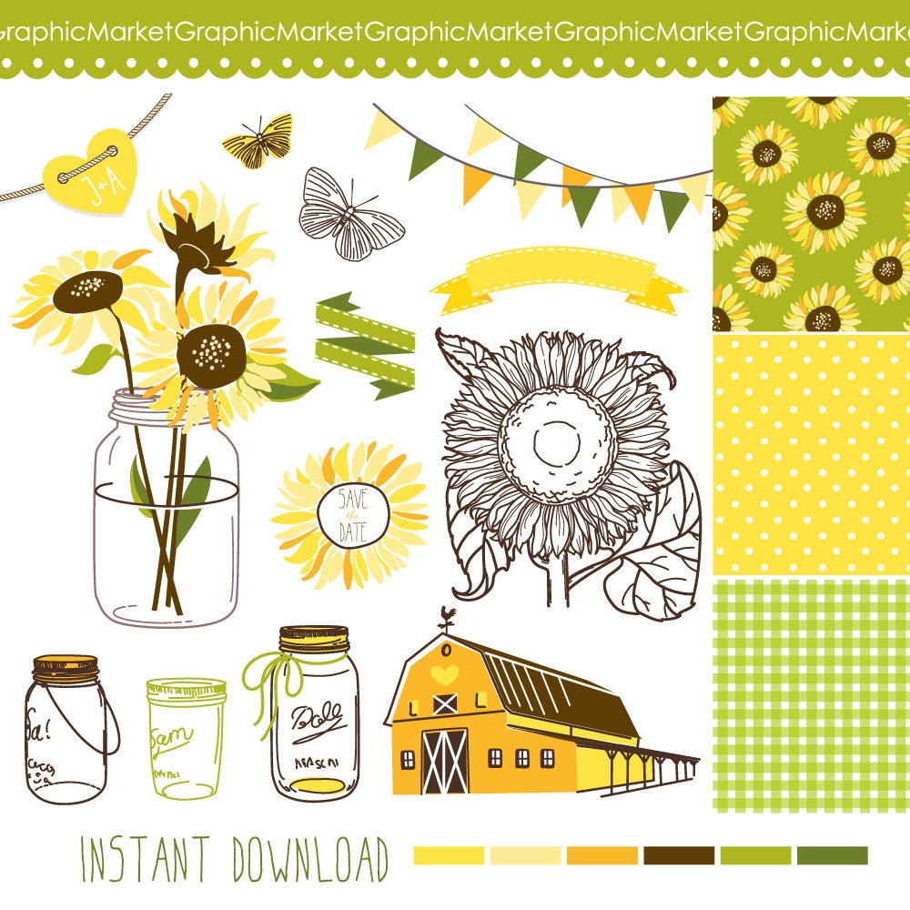 Sunflowers, Mason Jars And Digital Papers
