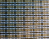 43 X 36 Blue Green and Ivory Plaid Cotton Fabric Remnant