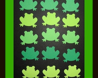 50 Green Frogs Die Cuts Punches For Scrapbook Cards Party Confetti Crafts Embellishments 5 Shades of Green