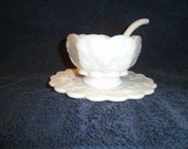 Westmoreland milk glass compot dish with saucer and spoon paneled grape pattern