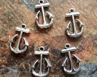 5 silver anchor connectors charms for bracelets, links for jewelry, pendants, link, antique silver pewter