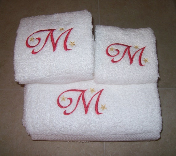 Monogrammed Bath Towel Set-Bath Towel Hand Towel And Wash