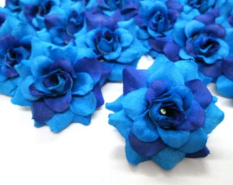 24 Blue mini Roses Heads - Artificial Silk Flower - 1.75 inches - Wholesale Lot - for Wedding Work, Make Hair clips, headbands