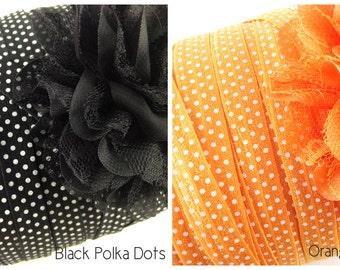 "Special Halloween FOE 5/8"" PRINT Fold Over Elastic - Halloween Set - Halloween/Fall Season - 5 yards each - Black and Orange Polka Dots"