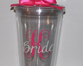 10 - Bridesmaids Gift  Monogram  tumbler set of 10 - Custom You Choose Colors