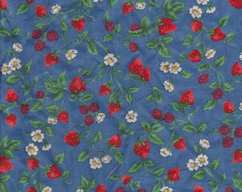 Fabric Delicious Strawberry Summer Berries Green Leaves White Blooms on Blue Spring Background FQ