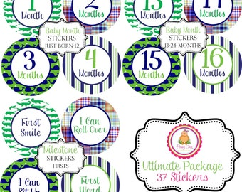Ultimate Package Preppy Baby Month Stickers Just Born-24 Months and Milestone Stickers Make Great Baby Shower Gifts..37 Stickers Total